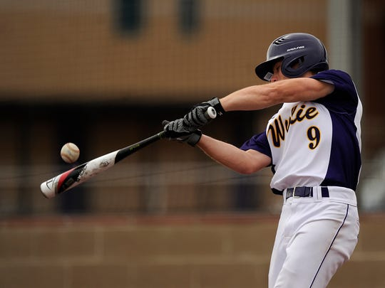 Wylie's Brady Horn (9) hits a ball during the bottom