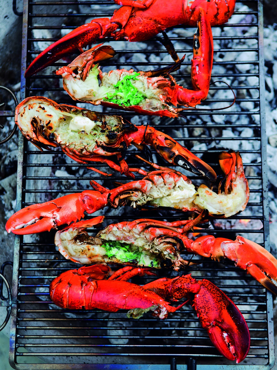Grilled Lobsters with Chive Butter Serves 4  Lobsters