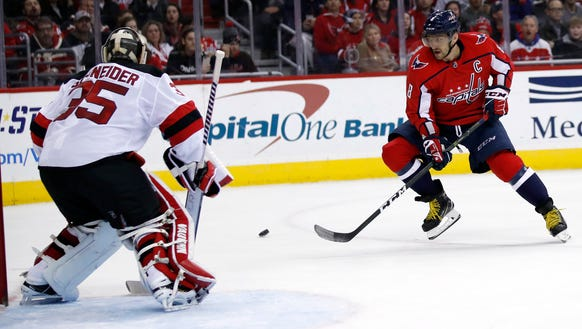 Washington Capitals left wing Alex Ovechkin (8), from