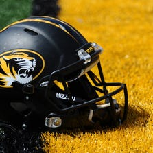 Apr 19, 2014; Columbia, MO, USA; A Missouri Tigers football helmet is seen on the field during the Black & Gold Game at Faurot Field. Mandatory Credit: Dak Dillon-USA TODAY Sports