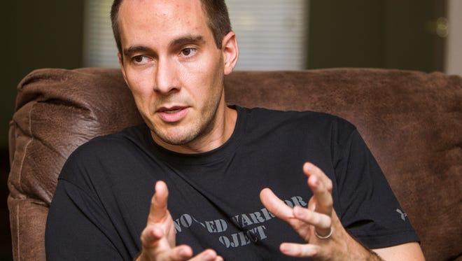 Jason Cvancara is interviewed in Gilbert, Monday, July 7, 2014.  Cvancara is running for Gilbert Town Council.