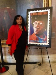 Zinga A. Fraser, PhD at the Shirley Chisholm stamp