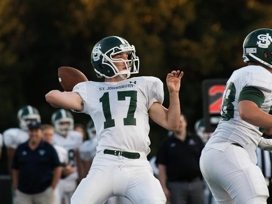 St. Johnsbury quarterback Collin Urie airs it out during the Week 1 win at South Burlington.