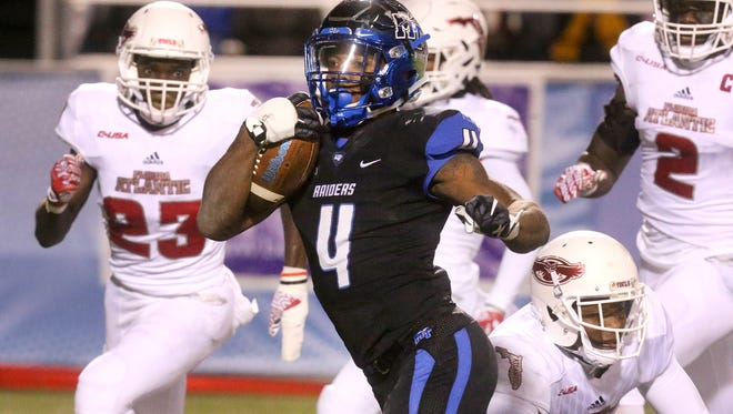 MTSU's I'Tavius Mathers (4) became the first player in NCAA FBS history to have 1,500 rushing yards, 500 receiving yards and 60 catches in the same season.