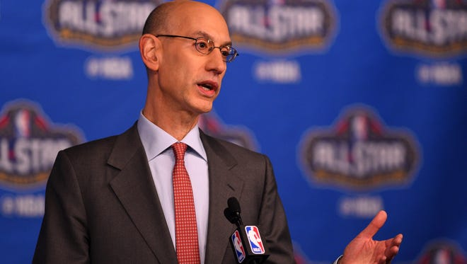 NBA commissioner Adam Silver speaks to the media during the Commissioner Press Conference at Smoothie King Center.