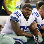 Dec 2, 2012; Arlington, TX, USA; Dallas Cowboys nose tackle Josh Brent (92) on the sidelines against the Philadelphia Eagles at Cowboys Stadium. Mandatory Credit: Matthew Emmons-USA TODAY Sports