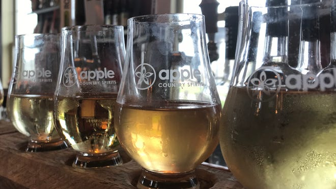 A tasting flight of ciders at Rootstock Ciderworks in Williamson, Wayne County.
