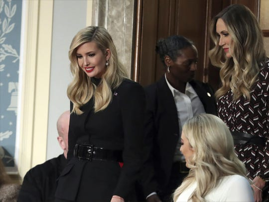Ivanka Trump, left, and Lara Trump arrive to hear President Donald Trump deliver his State of the Union address to a joint session of Congress on Capitol Hill in Washington, Tuesday, Feb. 5, 2019. Tiffany Trump is at bottom right.