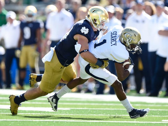 Drue Tranquill is moving from safety to Mike Elko's new rover position.