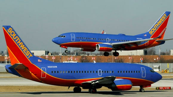 A Southwest Airlines Boeing 737 waits to take off at
