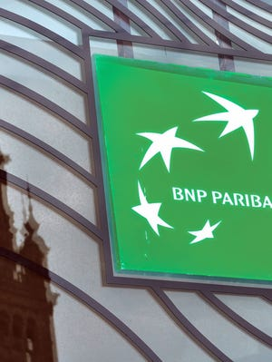 Photo from in Lille, northern France taken in June 2014 shows the logo of French banking giant BNP Paribas.