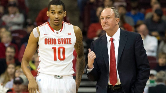 Ohio State Buckeyes forward LaQuinton Ross talks with head coach Thad Matta early in the game against the Delaware Blue Hens at the Schottenstein Center.