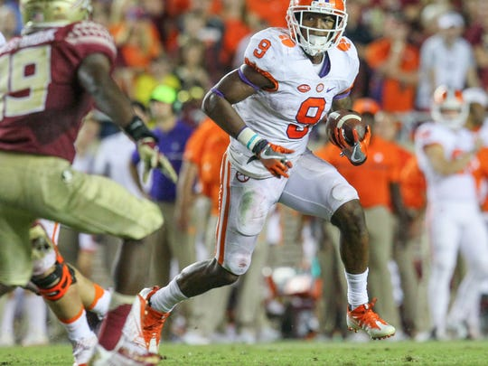 Clemson running back Wayne Gallman (9) runs near Florida State defensive back A.J. Westbrook(18) during the fourth quarter on Saturday October 29 at Doak Campbell Stadium in Tallahassee, Florida.