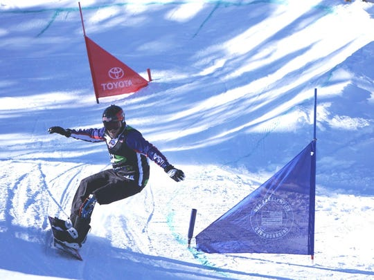 Mike Schultz of St. Cloud goes down a snowboarding run during a competition on Dec. 15 in Breckenridge, Colorado. Schultz has qualified to participate in the 2018 Winter Paralympics that will take place March 8-18 in PyeongChang, South Korea.