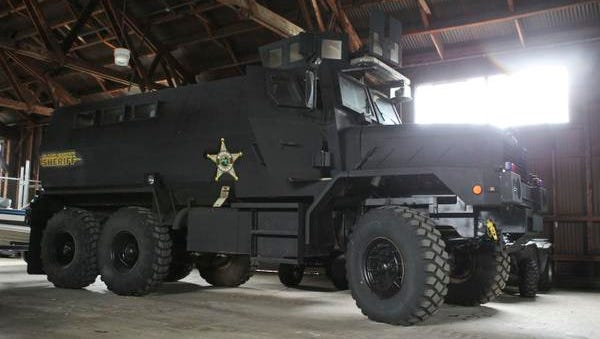 Clark County Sheriffs Department has several Humvees as well as this MRAP, a 13-foot tall, mine-resistant ambush protected vehicle that was built for use in Iraq and other war zones. It can transport eight officers but has only been used as a public relations tool during civic events. Sept. 11, 2014