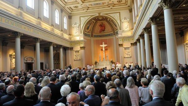 John Seigenthaler's funeral at the Cathedral of the Incarnation on Monday July 14, 2014, in Nashville.