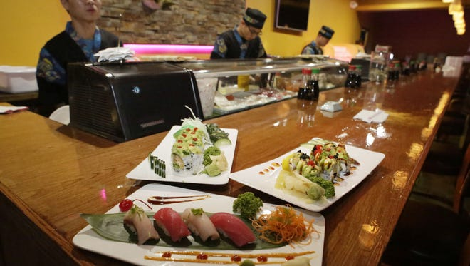 Plates of sushi as seen at Umi Sushi and Steak House, Tuesday, February 13, 2018, in Sheboygan, Wis. The firm recently opened at 519 N. 8th St.
