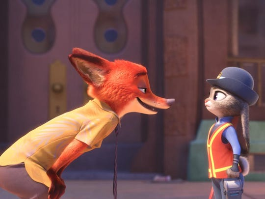 """""""Zootopia"""" features the voices of Ginnifer Goodwin as Judy and Jason Bateman as Nick."""