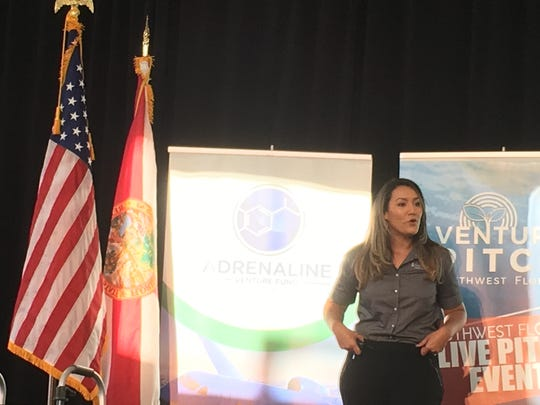 Stephanie Gomez, co-founder, president and CEO of Naples-based Stabilized Steps, makes her pitch at VenturePitch at Babcock Ranch.