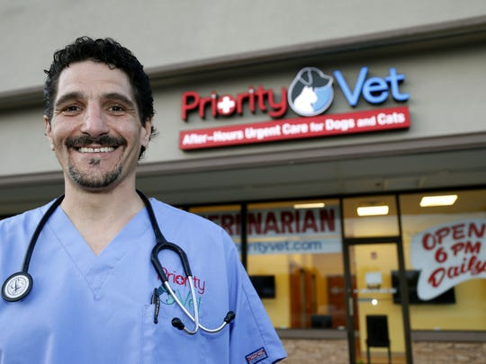Steven Cudia, owner of PriorityVet, a veterinarian business that offers after-hours urgent care visits for dogs and cats, stands outside his Toms River office.