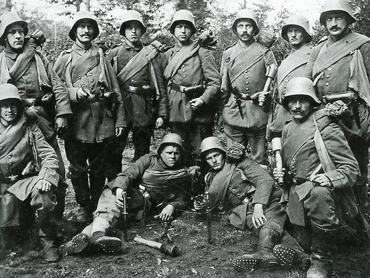 Photographed here are German soldiers, aka Storm Troopers,