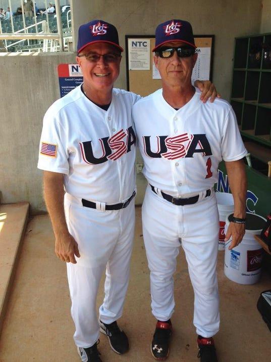 Paul Mainieri (left) with Ed Blankmeyer