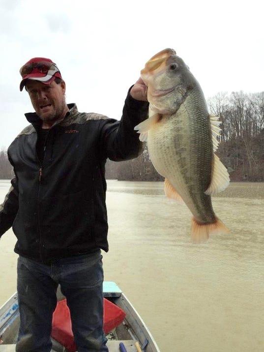 Hopkinsville man lands monster bass on lake morris for Fishing in louisville ky