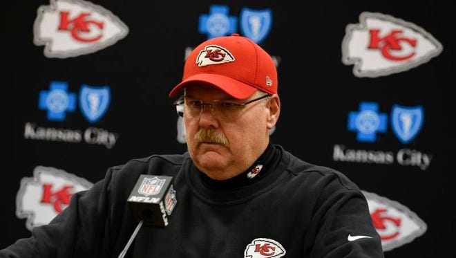 Chiefs head coach Andy Reid speaks during a news conference after the divisional playoff football game against the Steelers on Sunday.