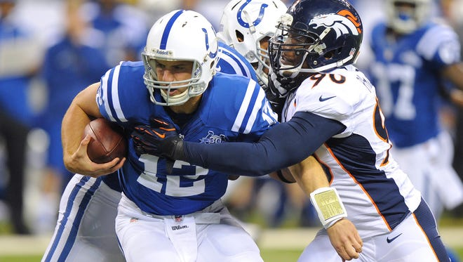 Shaun Phillips, now a Colts linebacker, played for Denver in 2013.He took down Andrew Luck in a game on Oct. 13 of that year.