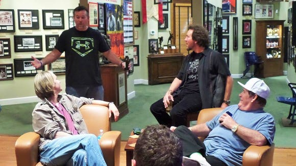 Sean Casey, Bronson Arroyo, Eddie Vedder and Pete Rose at the Green Diamond Gallery in Montgomery.