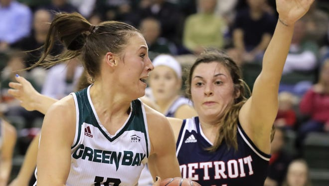 Green Bay Phoenix forward Mehryn Kraker (10) dribbles past Detroit Titans guard Rosanna Reynolds (11) in a women's college basketball game at the Kress Center on Wednesday, January 11, 2017, in Green Bay, Wis. Adam Wesley/USA TODAY NETWORK-Wisconsin