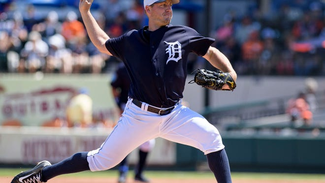 Tigers pitcher Jordan Zimmerman (27) throws a pitch during the first inning of the Tigers' 4-1 exhibition loss to the Phillies at Publix Field at Joker Marchant Stadium on Saturday, March 24, 2018.