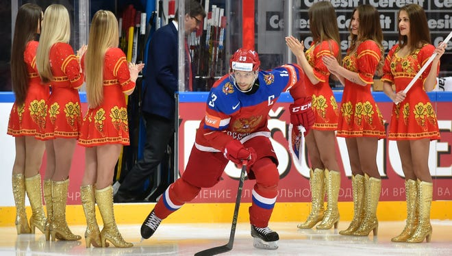 Pavel Datsyuk is introduced before the start of the bronze medal game Sunday.