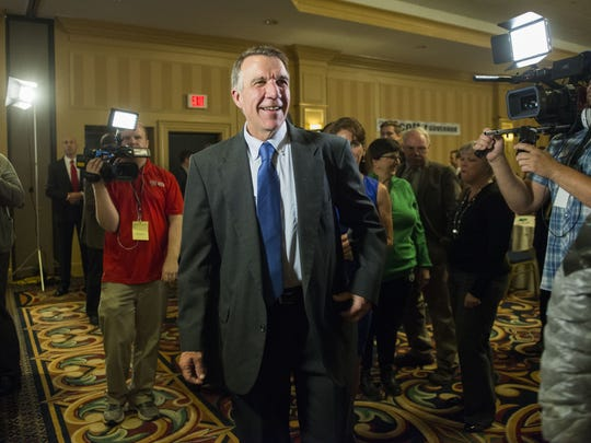 Phil Scott, candidate for Vermont Governor, greets supporters during the Republican election night party at the Sheraton hotel on on election night Tuesday November 8, 2016 in Burlington, Vermont.  (BRIAN JENKINS/for the FREE PRESS)
