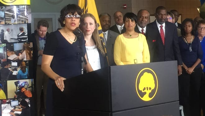 Chelsea Clinton and Flint Mayor Karen Weaver announced a new jobs program to help the city's youth.