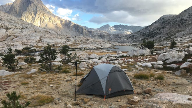 A campsite along the John Muir Trail overlooking Sapphire Lake in Evolution Basin in Sequoia Kings National Park on Sept. 16, 2016.
