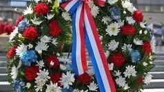 A memorial wreath