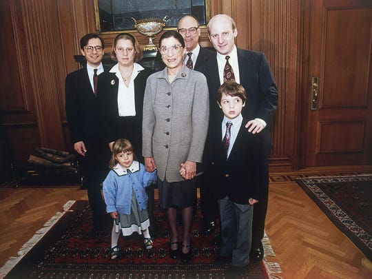 Supreme Court Justice Ruth Bader Ginsburg brings her family to work at the start of her first term in October 1993.
