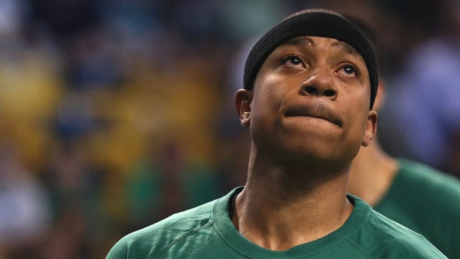 Isaiah Thomas of the Boston Celtics looks on during warm ups before Game 1 of the Eastern Conference quarterfinals.