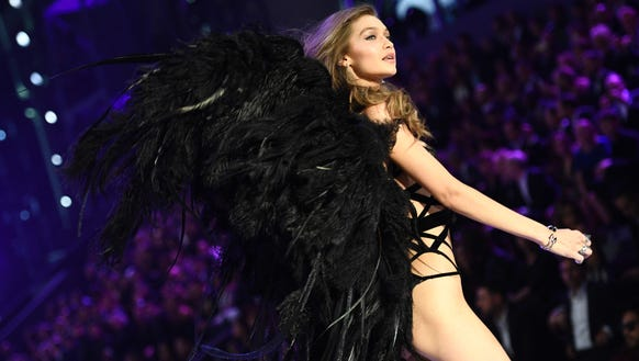 Gigi Hadid presents a creation during the 2016 Victoria's