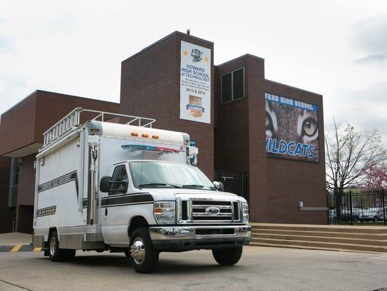 Wilmington Crime Scene vehicle leaves the school where