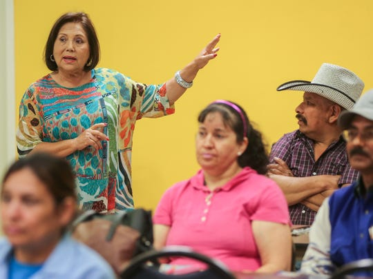 Alma Perez, president of San Angelo's Immigration Integration Project, talks to her students during a citizenship preparedness class Monday, April 3, at the Adult Literacy Council of the Concho Valley.