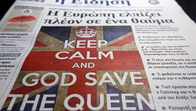A Greek daily newspaper with the cover headline of 'Europe Hopes For A Miracle' in reference to the upcoming referendum in Great Britain over whether to remain in the European Union is displayed on a table on June 17, 2016 in Athens, Greece.