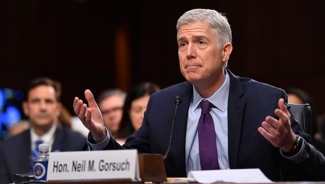 Supreme Court nominee Neil Gorsuch answers questions on day two of his confirmation hearing on March 21, 2017.
