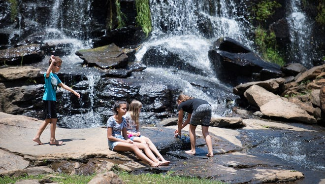 Children play by the Reedy River Falls on Thursday, June 15, 2017.