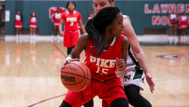Pike vs. Lawrence North in girls basketball action, Jan. 4, 2018