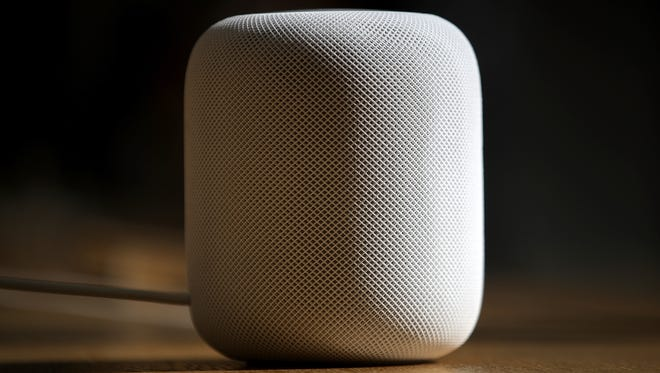 The new Apple HomePod is displayed at an Apple Store on Feb. 9, 2018 in San Francisco.