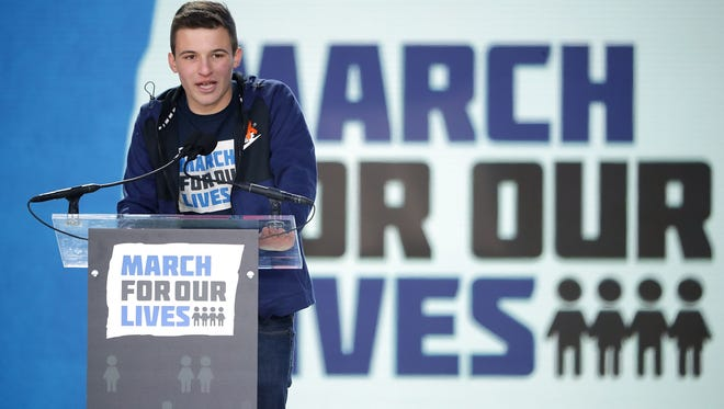 Marjory Stoneman Douglas High School Student Cameron Kasky addresses the March for Our Lives rally on March 24, 2018, in Washington, D.C.
