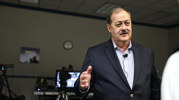 Republican candidate for U.S. Senate Don Blankenship speaks at a town hall meeting at West Virginia University on March 1, 2018 in Morgantown, W.Va.