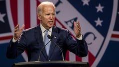 Former Vice President Joe Biden speaks during the League